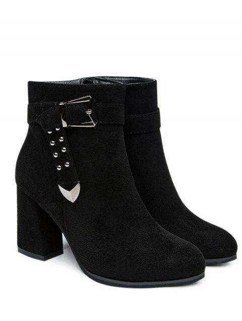 Studs Buckle Strap Side Zipper Ankle Boots - BLACK 35