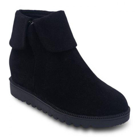 Fold Over Side Zip Flat Boots - BLACK 38