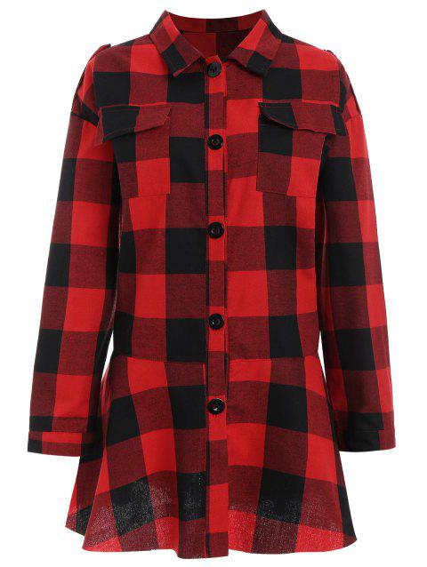 Plus Size Pocket Plaid Drop Waist Shirt - RED XL