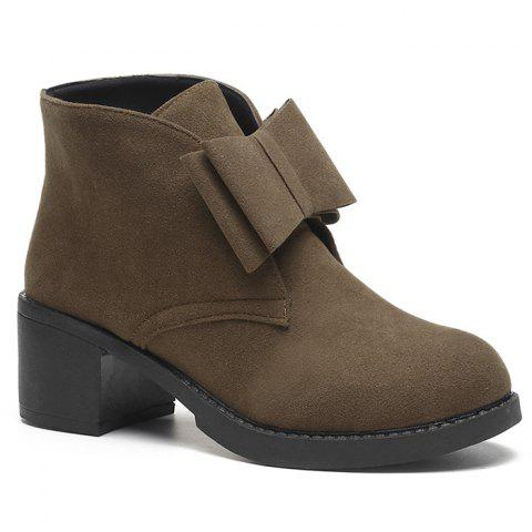 Bowknot Accent Chunky Heel Ankle Boots - BROWN 38