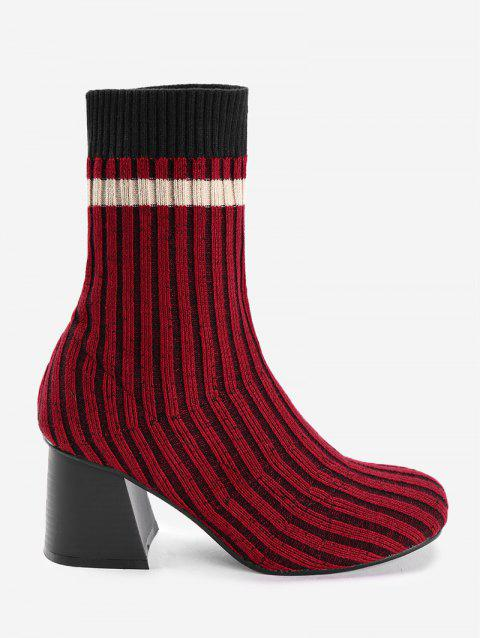 Almond Toe Color Block Rib Knitted Sock Boots - RED 38