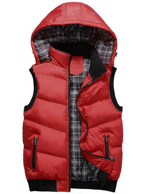 Detachable Hood Zipper Up Wadded Vest - RED 3XL
