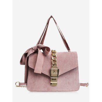 Bow Chain Buckle Strap Crossbody Bag - PINK PINK
