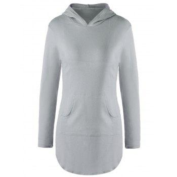 Stylish Solid Color Pocket Design Hooded Long Sleeve T-Shirt For Women - GRAY GRAY