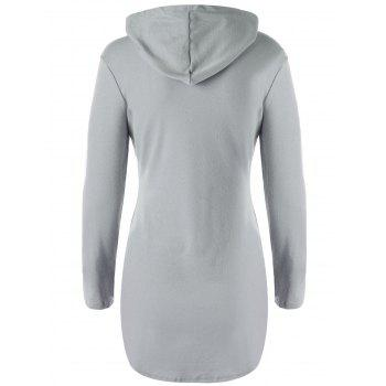 Stylish Solid Color Pocket Design Hooded Long Sleeve T-Shirt For Women - GRAY L