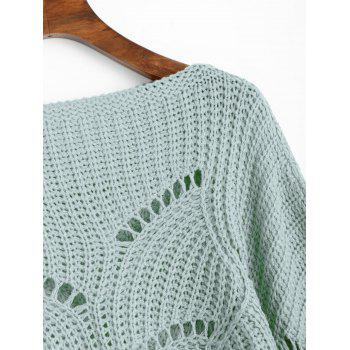 Hollow Out Cropped Dolman Poncho Sweater - GREEN ONE SIZE