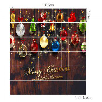 Baubles and Wooden Printed Removable Stair Stickers - COLORFUL 6PCS:39*7 INCH( NO FRAME )