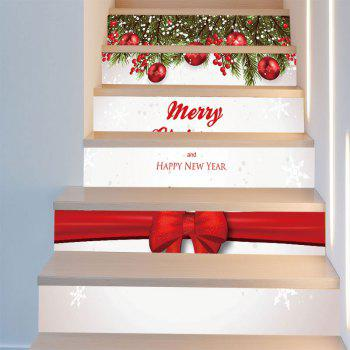 Merry Christmas Bowknot Pattern Decorative Stair Stickers - COLORFUL 6PCS:39*7 INCH( NO FRAME )
