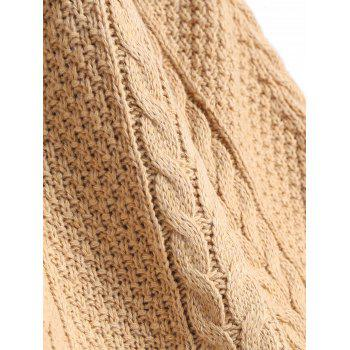 Rolled Hem Cable Knitted Slit Sweater - KHAKI ONE SIZE