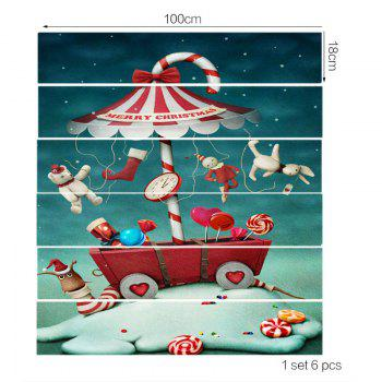 Christmas Candy Snail Printed DIY Stair Stickers - COLORFUL 6PCS:39*7 INCH( NO FRAME )