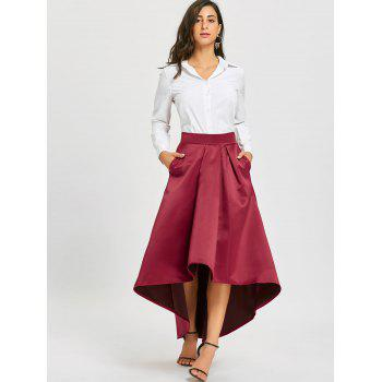 Elastic Waist High Low Maxi Skirt - WINE RED M