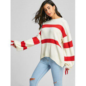 Loose Fit Tie Up Sleeve Striped Sweater - OFF WHITE ONE SIZE