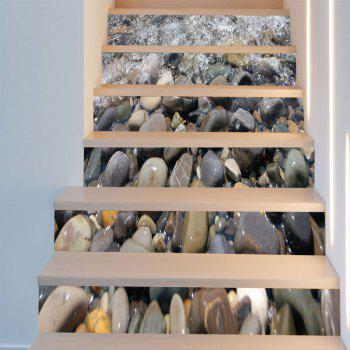 Cobblestones Pattern 3D 6Pcs Stair Stickers - GRAY 6PCS:39*7 INCH( NO FRAME )