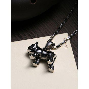 Funny Carving Dog Decorated Stainless Steel Pendant Necklace - BLACK
