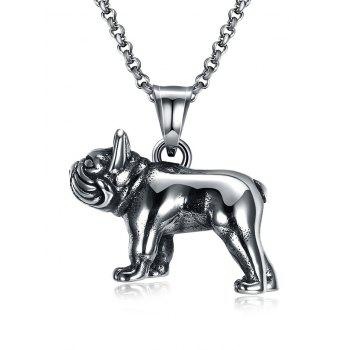 Funny Carving Dog Decorated Stainless Steel Pendant Necklace - BLACK BLACK