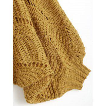 Hollow Out Cropped Dolman Poncho Sweater - GINGER ONE SIZE