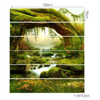 Tree Hole Stream Scenery Printed 6Pcs Stair Stickers - GREEN 6PCS:39*7 INCH( NO FRAME )