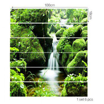 Mountains Stream Printed Stair Stickers - GREEN 6PCS:39*7 INCH( NO FRAME )