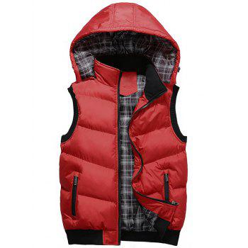 Detachable Hood Zipper Up Padded Vest - RED RED