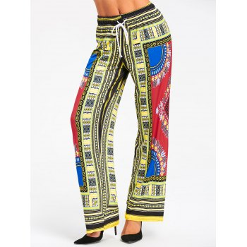 African Printed High Waist Wide Leg Pants - RED RED