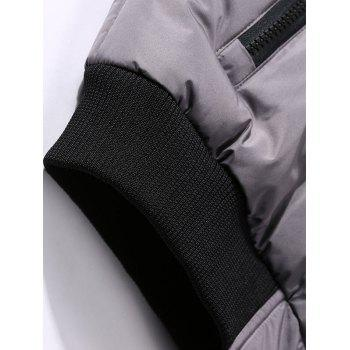 Detachable Hood Zipper Up Padded Vest - COFFEE 2XL