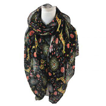 Soft Christmas Deer and Floral Decorated Long Scarf - BLACK BLACK