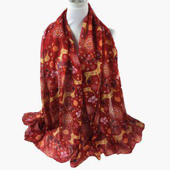Soft Christmas Deer and Floral Decorated Long Scarf - RED