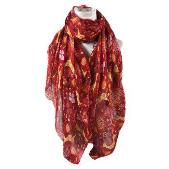 Soft Christmas Deer and Floral Decorated Long Scarf - RED RED