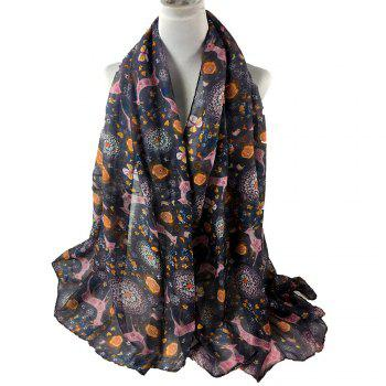 Soft Christmas Deer and Floral Decorated Long Scarf - DARK GRAY DARK GRAY