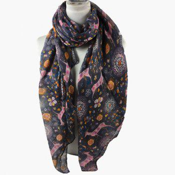 Soft Christmas Deer and Floral Decorated Long Scarf -  DARK GRAY
