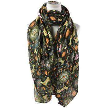 Soft Christmas Deer and Floral Decorated Long Scarf - ARMY GREEN ARMY GREEN
