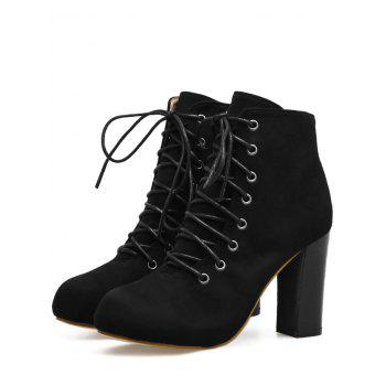 High Heel Lace Up Boots - BLACK 39