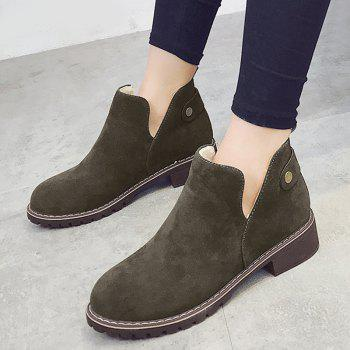 Cutout Side Low Heel Suede Ankle Boots - GREEN 40