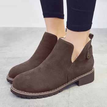 Cutout Side Low Heel Suede Ankle Boots - KHAKI 39