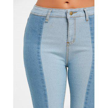Skinny Two Tone Color Denim Jeans - CLOUDY M