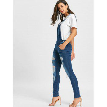Distressed Cuffed Denim Dungarees - DENIM BLUE L