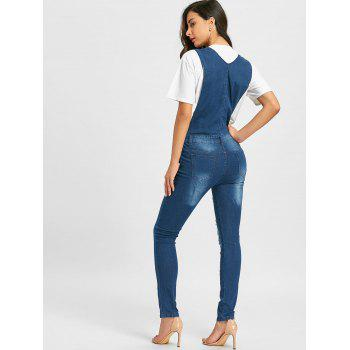 Salopette en denim à revers et revers - Denim Bleu XL