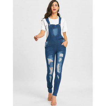 Distressed Cuffed Denim Dungarees - DENIM BLUE XL