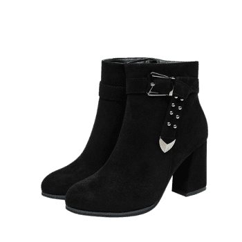Studs Buckle Strap Side Zipper Ankle Boots - BLACK 36