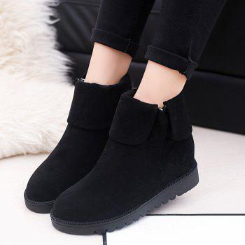 Fold Over Side Zip Flat Boots - BLACK 39