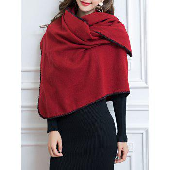 Vintage Outdoor Faux Wool Shawl Scarf -  RED