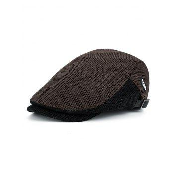 Outdoor Letter Label Embellished Adjustable Newsboy Hat - COFFEE COFFEE