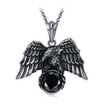 Carved Eagle Decorated Faux Gem Stainless Steel Pendant Necklace - BLACK BLACK