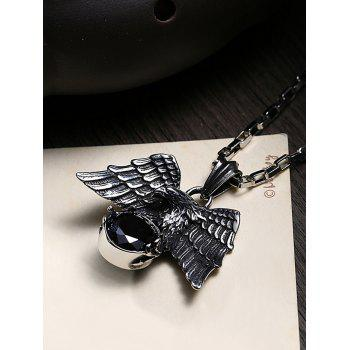 Carved Eagle Decorated Faux Gem Stainless Steel Pendant Necklace - BLACK