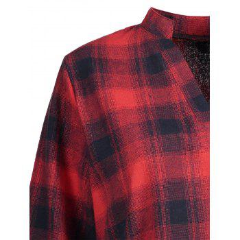 Plus Size High Low Plaid Shirt - RED 5XL