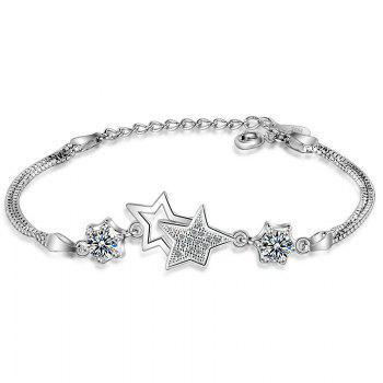 Artificial Crystal Rhinestone Star Chain Bracelet - WHITE WHITE