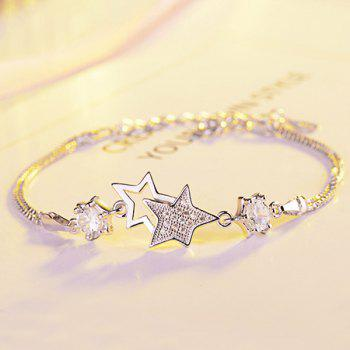 Artificial Crystal Rhinestone Star Chain Bracelet -  WHITE