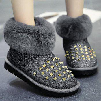 Glitter Rivets Fur Snow Boots - GRAY 38