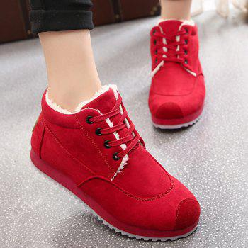 Faux Fur Lining Increased Internal Sneakers - RED 39