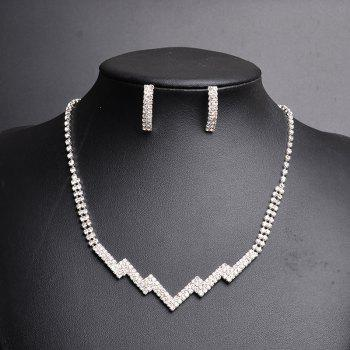 Rhinestoned Zig Zag Necklace and Earring Set - SILVER SILVER